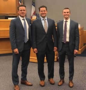 Pictured from left are Beasley Allen lawyers Rob Register, Chris Glover, and Dan Philyaw.