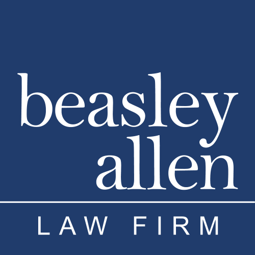 Beasley Allen 40th logo in front of buildings