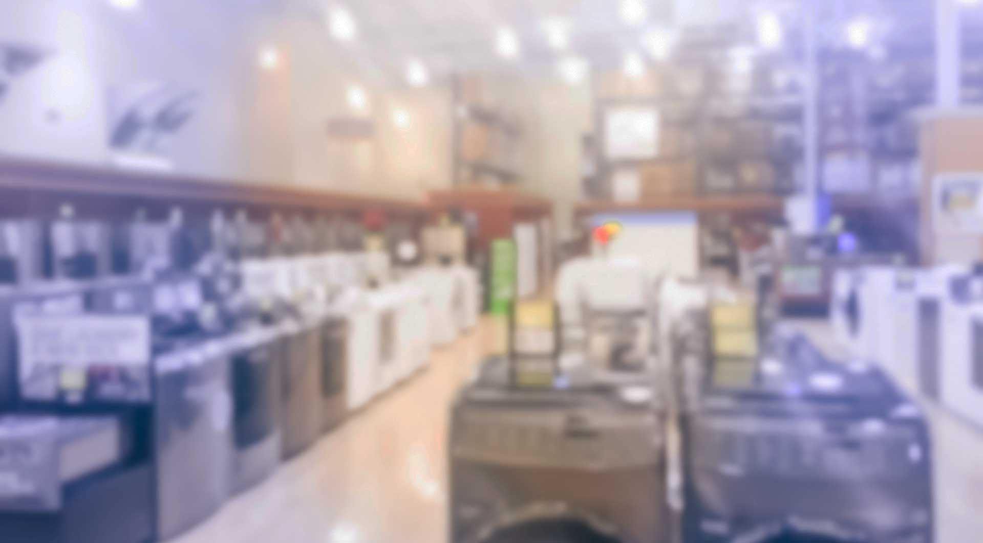 Household appliances at a retail store